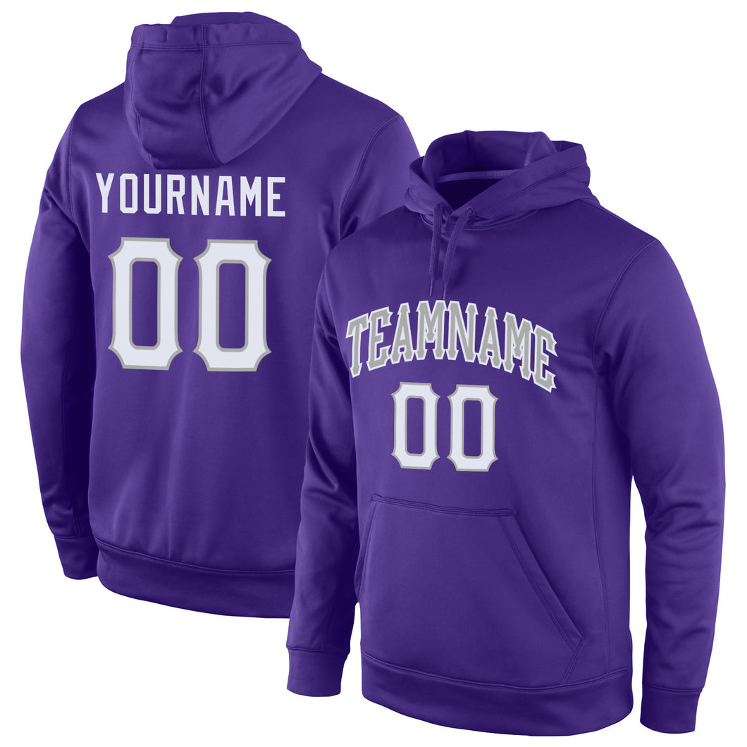 Custom Stitched Purple White-Gray Sports Pullover Sweatshirt Hoodie