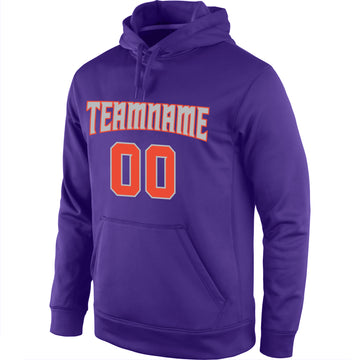 Custom Stitched Purple Orange-Gray Sports Pullover Sweatshirt Hoodie