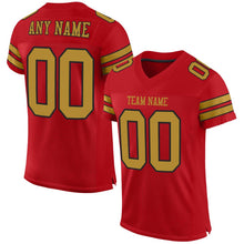 Load image into Gallery viewer, Custom Red Old Gold-Black Mesh Authentic Football Jersey