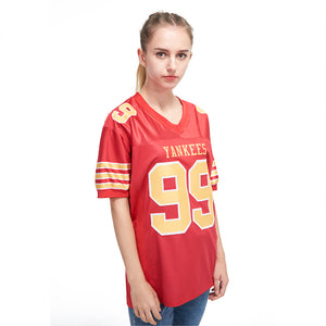 Custom Red Gold-White Mesh Authentic Football Jersey