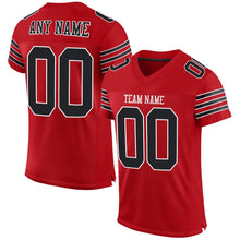 Load image into Gallery viewer, Custom Red Black-White Mesh Authentic Football Jersey