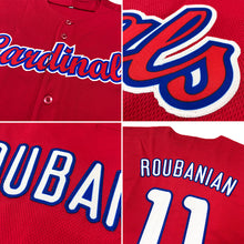 Load image into Gallery viewer, Custom Red White-Royal Authentic Baseball Jersey