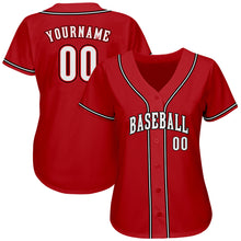 Load image into Gallery viewer, Custom Red White-Black Authentic Baseball Jersey