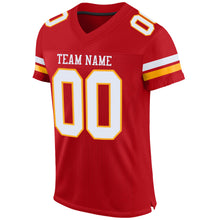 Load image into Gallery viewer, Custom Red White-Gold Mesh Authentic Football Jersey
