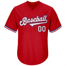 Load image into Gallery viewer, Custom Red White-Royal Authentic Throwback Rib-Knit Baseball Jersey Shirt