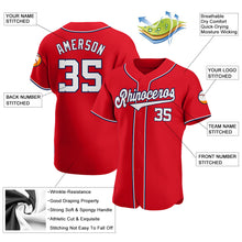 Load image into Gallery viewer, Custom Red White-Navy Authentic Baseball Jersey
