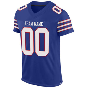 Custom Royal White-Red Mesh Authentic Football Jersey
