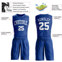 Load image into Gallery viewer, Custom Royal White Round Neck Suit Basketball Jersey