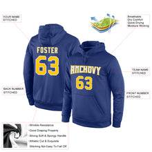 Load image into Gallery viewer, Custom Stitched Royal Gold-White Sports Pullover Sweatshirt Hoodie