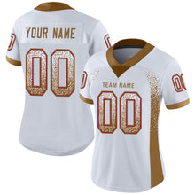 Load image into Gallery viewer, Custom White Old Gold-Red Mesh Drift Fashion Football Jersey