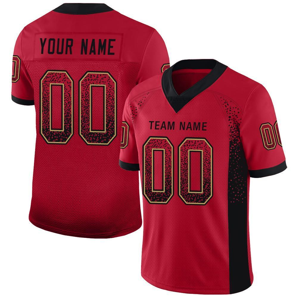 Custom Red Black-Old Gold Mesh Drift Fashion Football Jersey