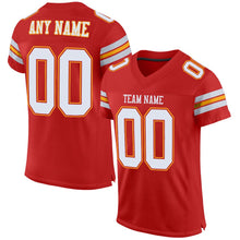 Load image into Gallery viewer, Custom Scarlet White-Gold Mesh Authentic Football Jersey