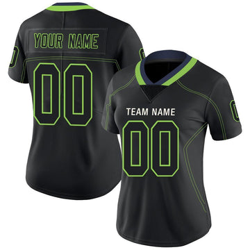 Custom Lights Out Black Neon Green-Navy Football Jersey