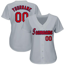 Load image into Gallery viewer, Custom Gray Red-Navy Baseball Jersey