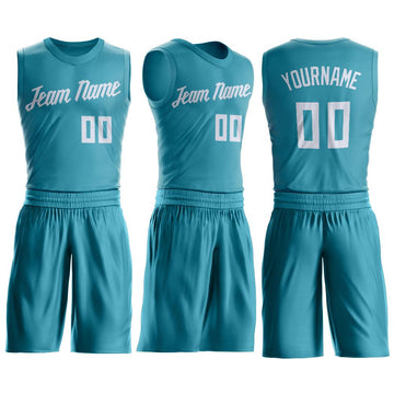 Custom Teal White Round Neck Suit Basketball Jersey