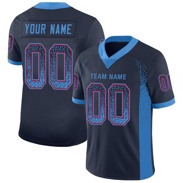 Custom Navy Powder Blue-Red Mesh Drift Fashion Football Jersey