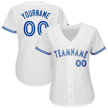 Custom White Royal Baseball Jersey