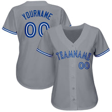 Load image into Gallery viewer, Custom Gray Royal-White Baseball Jersey
