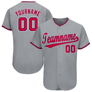 Custom Gray Red-Navy Baseball Jersey