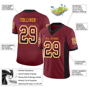 Custom Burgundy Black-Gold Mesh Drift Fashion Football Jersey
