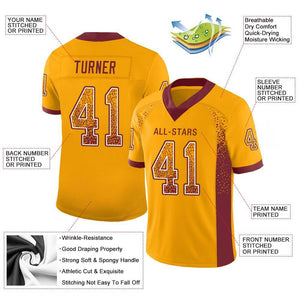 Custom Gold Burgundy-White Mesh Drift Fashion Football Jersey