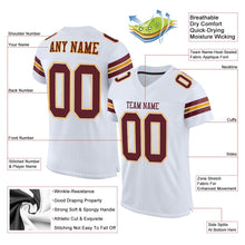 Load image into Gallery viewer, Custom White Burgundy-Gold Mesh Authentic Football Jersey