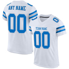 Load image into Gallery viewer, Custom White Panther Blue-Light Gray Mesh Authentic Football Jersey
