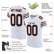 Load image into Gallery viewer, Custom White Black-Orange Mesh Authentic Football Jersey