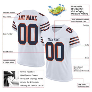 Custom White Navy-Orange Mesh Authentic Football Jersey