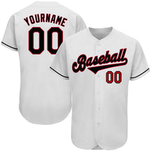 Load image into Gallery viewer, Custom White Black-Red Authentic Baseball Jersey