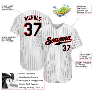 Custom White Black Strip Black-Red Authentic Baseball Jersey