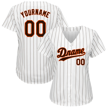 Custom White Brown Strip Brown-Orange Authentic Baseball Jersey