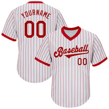 Load image into Gallery viewer, Custom White Red Strip Red-White Authentic Throwback Rib-Knit Baseball Jersey Shirt