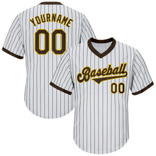 Load image into Gallery viewer, Custom White Brown Strip Brown-Gold Authentic Throwback Rib-Knit Baseball Jersey Shirt