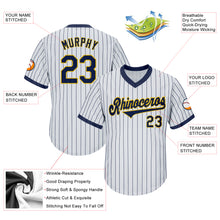 Load image into Gallery viewer, Custom White Navy Strip Navy-Gold Authentic Throwback Rib-Knit Baseball Jersey Shirt