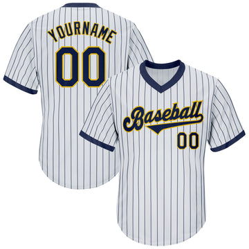 Custom White Navy Strip Navy-Gold Authentic Throwback Rib-Knit Baseball Jersey Shirt