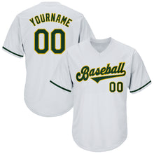 Load image into Gallery viewer, Custom White Green-Gold Authentic Throwback Rib-Knit Baseball Jersey Shirt