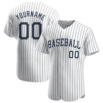 Custom White Navy Strip Navy Authentic Baseball Jersey
