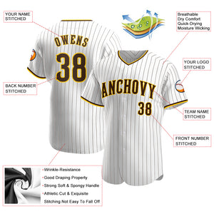 Custom White Brown Strip Brown-Gold Authentic Baseball Jersey
