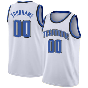 Custom White Blue-Black Round Neck Rib-Knit Basketball Jersey