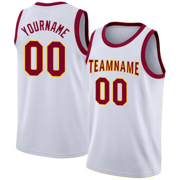 Custom White Maroon-Gold Round Neck Rib-Knit Basketball Jersey