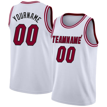 Custom White Maroon-Black Round Neck Rib-Knit Basketball Jersey