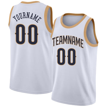 Custom White Navy-Old Gold Round Neck Rib-Knit Basketball Jersey