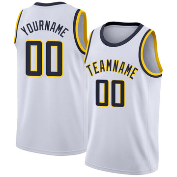 Custom White Navy-Gold Round Neck Rib-Knit Basketball Jersey