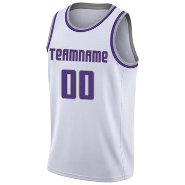 Custom White Purple-Silver Gray Round Neck Rib-Knit Basketball Jersey