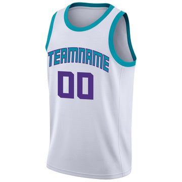 Custom White Purple-Teal Round Neck Rib-Knit Basketball Jersey