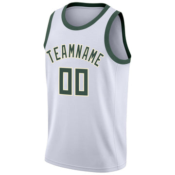 Custom White Hunter Green-Cream Round Neck Rib-Knit Basketball Jersey