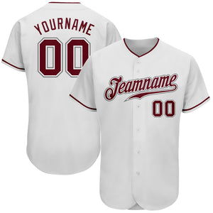 Custom White Crimson-Gray Authentic Baseball Jersey
