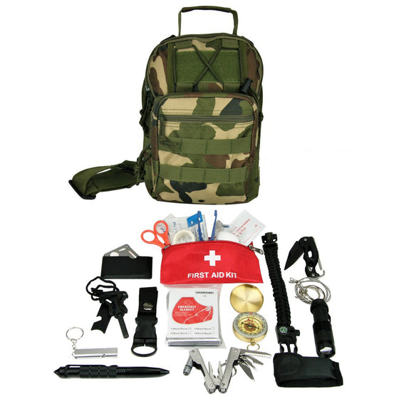 Mini Hiking, Camping Go-Bag Sling Backpack Kit with Outdoor Survival Gear