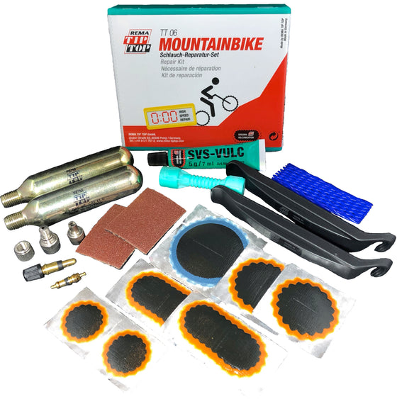 REMA Mountain Bike Tube Tire Patch Repair Kit with Air Cartridges